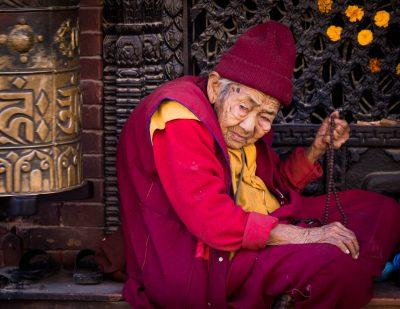 Buddhist monk posted daily at stupa